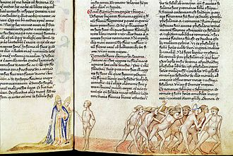 Brunetto Latini - Dante and Virgil interview Brunetto among the sodomites, from Guido da Pisa's commentary on the Commedia, c. 1345