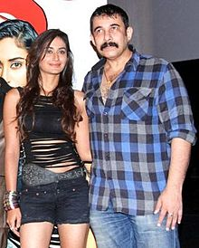 A photograph of Tijori and Dare You's lead actress Alisha Khan at the film's first look launch.