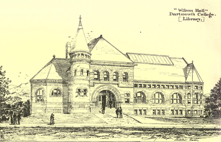 Drawing of Wilson Hall, Dartmouth's first library building, by the architect Samuel J. F. Thayer (1842-1893) which appeared in American Architect and Building News in March 1885 Dartmouth College 1885 American Architect.png