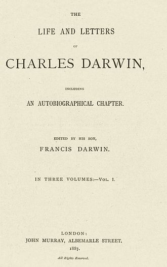 The Autobiography of Charles Darwin - Cover of the original edition of 1887.