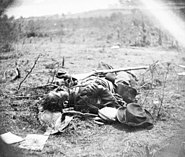 Dead Confederate soldier - Ewell's attack, May 19, 1864, near Spotsylvania Court House