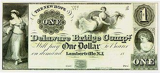 """Private currency - A private $1 note, issued by the """"Delaware Bridge Company"""" of New Jersey 1836–1841"""
