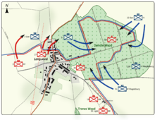 Colour map image depicting town and wood to the right of the town. Shows main access routes and positions of Allied and German forces on 17 July 1916