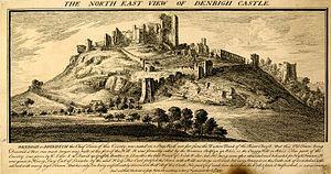 Denbigh Castle - An 18th-century engraving of Denbigh Castle by Samuel and Nathaniel Buck.