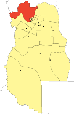 location of Las Heras Department in Mendoza Province
