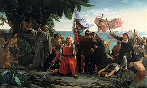 Latin America - Romantic painting of Christopher Columbus arriving to the Americas (Primer desembarco de Cristóbal Colón en América), by Dióscoro Puebla (1862).