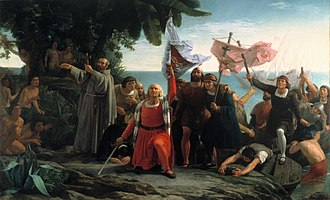 Latin America - Romantic painting of Italian explorer Christopher Columbus arriving to the Americas (Primer desembarco de Cristóbal Colón en América), by Dióscoro Puebla (1862)