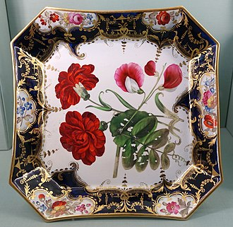 Coalport porcelain - Plate from the Harewood House botanical dessert service, probably 1830s-1840s