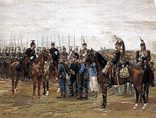 A painting of a mounted French cavalry officer guarding captured Bavarian soldiers