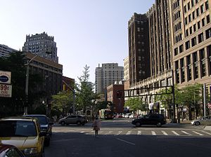 Griswold Street - Griswold Street looking north from State Street, with the former DDOT downtown layover area and Industrial-Stevens Apartments visible to the left.