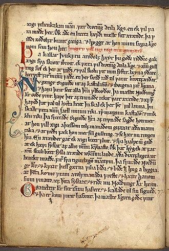Þiðreks saga - Thidrekssaga, Holm perg 4 fol, bl. 11v.