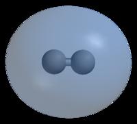 Схематическое изображение симметричной волновой функции молекулы водорода и образования ковалентной связи.