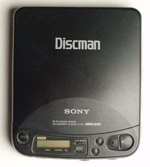 Portable CD player - An early portable player, a Sony Discman model D121
