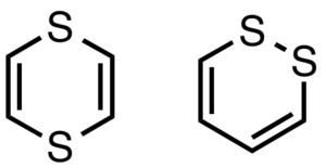 Dithiin - Structures of 1,4-dithiin and 1,2-dithiin.