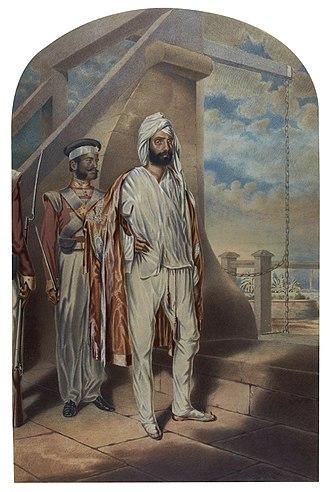Diwan Mulraj Chopra - Portrait by Colesworthey Grant of Diwan Mulraj  held captive in Calcutta (1851)