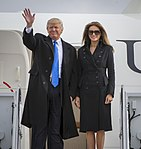 Donald and Melania Trump depart an aircraft at Joint Base Andrews.jpg