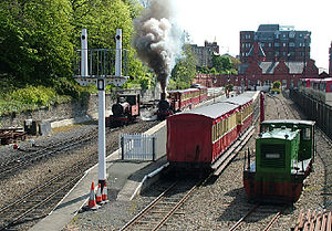 Isle of Man Railway - Viewed from the steps of the signal box (l-r) № 13 Kissack, № 12 Hutchinson and № 17 Viking at Douglas railway station in July 2006.