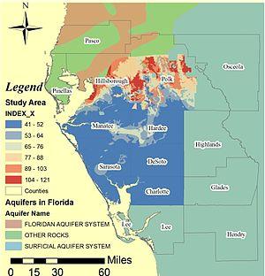 GIS in environmental contamination - Image: Drastic florida