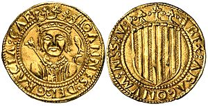 John II of Aragon and Navarre - A ducat with John II's effigy