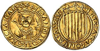 John II of Aragon - A ducat with John II's effigy