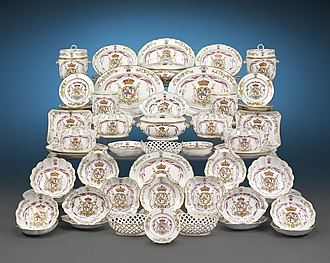Armorial ware - 85-piece Derby porcelain dinner service for the 8th Duke of Hamilton, circa 1780-90