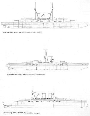 Three line drawings of a battleship: the first and third have two funnels and two masts, while the second has just one funnel and one mast; all feature four main turrets and casemated guns