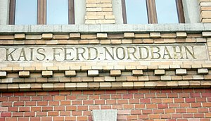 Emperor Ferdinand Northern Railway - Inscription: Kaiser Ferdinand Nordbahn on the Main Rail Station in Bielsko-Biała