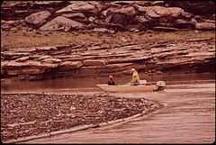 EPA Men Check Log Boom for Leakage of Oil and Debris Following a Massive Oil Spill Into the San Juan River, 10-1972 (3814161511).jpg