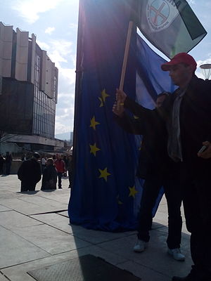 Euroscepticism - European flag in Bulgaria torn down by supporters of the Eurosceptic party Attack