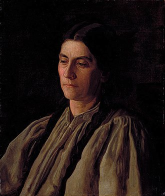 Portrait of Mary Adeline Williams - Mother by Thomas Eakins. This is a portrait of Annie Williams Gandy, Addie William's sister. Eakins biographer Margaret McHenry noted that Annie Gandy's expression is the same one as in the second portrait of Addie Williams