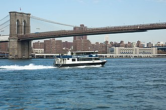 NYC Ferry - NYC Ferry's East River line in its former NY Waterway livery