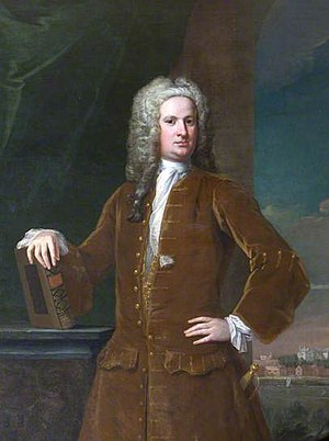 Prideaux Place - Edmund Prideaux (1693–1745) of Prideaux Place, 1730 portrait by William Aikman, collection of National Trust, Blickling Hall, Norfolk. Prideaux Place is shown in the background