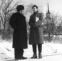 The Finnish filmmakers Edvin Laine and Matti Kassila in 1955. Edvin-Laine-Matti-Kassila-1955.jpg