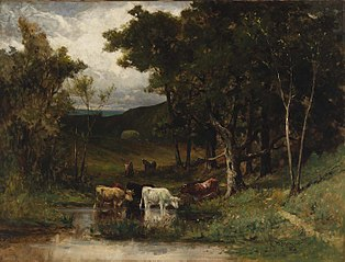 Untitled (landscape with cows in stream near trees)