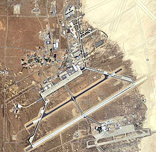 Satellite image of the main site, with Edwards Air Force Auxiliary Base South at the bottom right of the image and Rogers Dry Lake at the top right