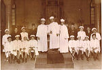 Egyptian Alexandria Jews. Choir of Rabbin Moshe Cohen in Samuel Menashe synagogue. Alexandria.jpg