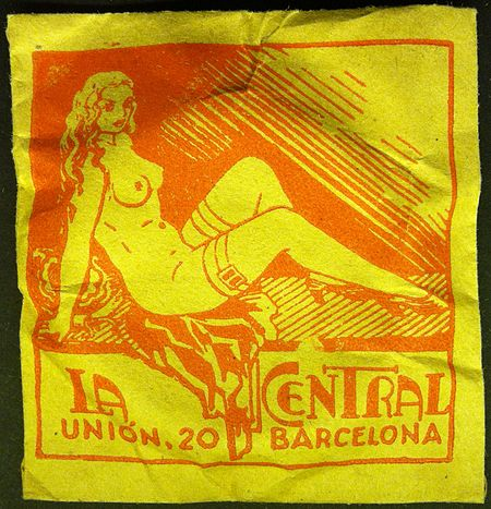 Early condom package, Spain, ca 1894-1939