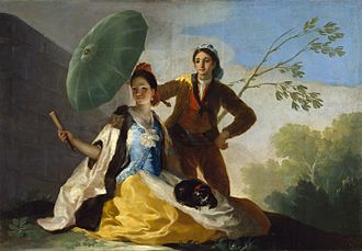 Royal Tapestry Factory - The Parasol. A 1777 design by Goya. It is one of the cards that Goya delivered to the Royal Factory in 1775, the year he arrived to supply models that were later converted into tapestries.