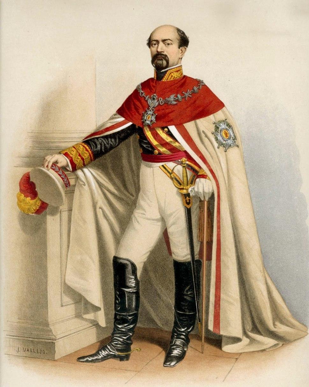 El marqués de Novaliches con el manto de la Real y Militar Orden de San Fernando