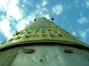 A electricity pylon seen from below