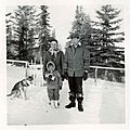 Elsie, Juanita (in front) and Fred Gingerich at Chipewyan Lake, Alberta, circa 1962. (15712238394).jpg