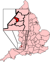 A map showing the location of Bristol in South West England.