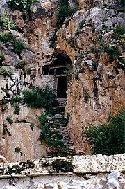 Entrance to Dawa Puk, Padmasambhava's cave, Yerpa 1993