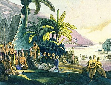 King Kamehameha receiving the Russian naval expedition of Otto von Kotzebue. Drawing by Louis Choris in 1816. Entrevue de l'expedition de M. Kotzebue avec le roi Tammeamea dans l'ile d'Ovayhi, Iles Sandwich (detailed).jpg