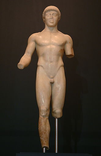 Ephebos - The Agrigento Ephebe, a Severe style Greek sculpture of the 5th century BCE in the museum of Agrigento, Sicily.
