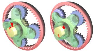 Планетарная передача в режиме повышения скорости. Водило (зелёное) вращается внешним источником. Усилие снимается с солнечной шестерни (жёлтая), в то время как кольцевая шестерня (красная) закреплена неподвижно. Красные метки показывают вращение входного вала на 45°.