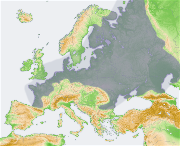 The European Plain highlighted on the map of Europe