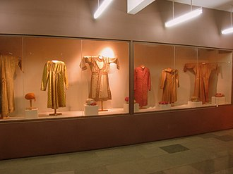 Angarkha -  Display of various styles of Angarkha worn by men, Delhi textile museum