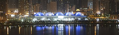 Panoramic view of the Expo Centre Sharjah by night.