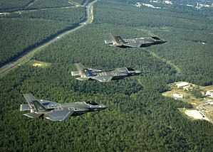F-35 Lightning II variants in flight near Eglin AFB in 2014.jpg